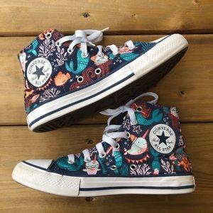 Girls Converse Mermaid Blue Glitter Chuck Taylor Runners Sneakers Running Shoes